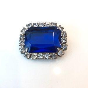 Vtg Blue Acrylic & Rhinestone Brooch